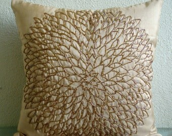 Pillow Sham Cover 24x24 Silk Bead Gold Embroidered Pillow Sham Cover Decorative Couch Sofa Bed Pillow Sham Case Pillow Sham Gold Blossomings