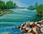 Willamette River 1.2 original landscape acrylic painting on square canvas