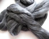 Ecru/Undyed/Natural Black Alpaca / Silk fiber roving blend (combed top), spinning fiber - 4 ounces