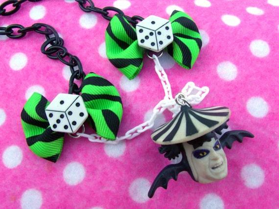 SALE Flying Beetlejuice Head Necklace