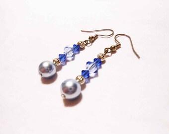 Blue Pearl and Crystal Dangle Earrings