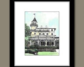 Jekyll Island Club Hotel - Hand Watercolored Pen and Ink Drawing Fine Art Print - Wedding Venue