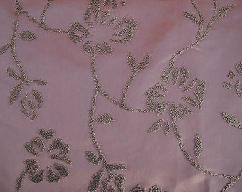 Fabric -Pink Satin with gold beaded floral design