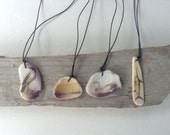 Modern Scrimshaw Shell Necklace