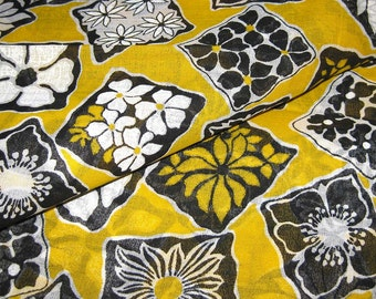 Vintage Cotton Fabric - Mod Floral Print in Yellow Black and White - Sheer Fabric