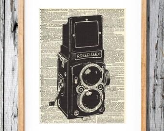 Vintage Camera 2- Rolleiflex - Art Print on Vintage Antique Dictionary Paper - Photography - Flash - Picture
