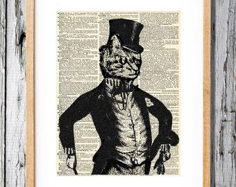 Dapper Victorian Tuxedo Cat - Art Print on Vintage Antique Dictionary Paper - Feline Gentlemen