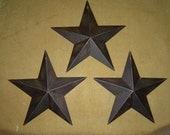 "Primitive Tin Metal Barn Star Ornament Ornie Set/3 Black 5 1/2"" Craft Supplies"