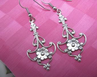 Sterling silver Chandelier Earrings Pierced earrings bridal earrings  vintage silver over brass