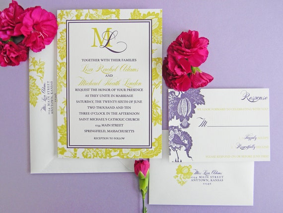 When To Mail Wedding Invitations Emily Post: Floral Chic Emily Invitation And RSVP Card Set By