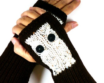Knit Fingerless Mittens Beige Owl Gloves Brown Fingerless Gloves  Arm Warmers Knit Accessories Wrist Warmers Hand Warmers