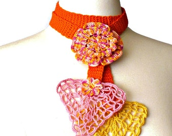 Crochet Necklace Lariat Irish Lace Crochet Flower in Orange Pink and Yellow