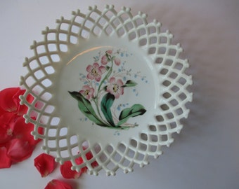 Vintage Westmoreland Milk Glass Lattice Edge Pink Floral Handpainted Bowl