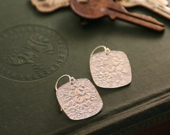 Floral Cushion Shaped Earrings In Fine Silver