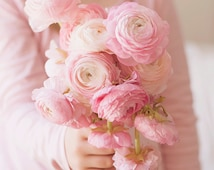 Portrait Photography - Pink Ranunculus Floral Bouquet Photo Nursery Girls Room Decor Portrait Girl Holding Flowers Pink Flowers Print