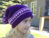 CLOSING SHOP SALE: Crocheted Purple Slouch Hat