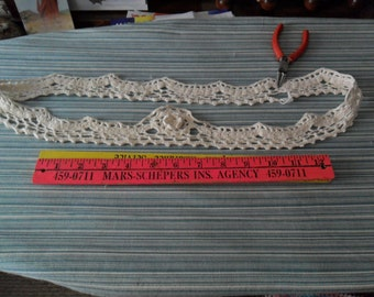 "VIntage Handcrocheted White Cotton Pillowcase trim - 40"" circumference x up to 2 1/2"" width"
