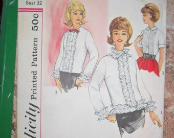 Vintage Simplicity Pattern 4485 - Never Used - Miss Ruffle Blouse - size 12 - bust 32