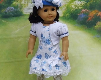 Time for Tea- Sundress & Jacket with Beret for American Girl