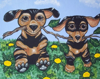 """Dogs """"Branch Manager and Assistant Branch Manager"""" Dachshunds Whimsical Modern Folk Art Print Multiple Sizes Available Artist Julie Ellison"""