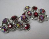 RESERVED forLeslie - Red Aurora Silver Earrings Clip Rhinestone Vintage