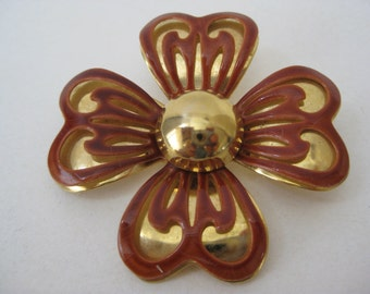 Flower Orange Brown Gold Brooch Vintage Pin Enamel