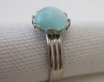 Blue Cab Ring Silver Vintage Adjustable
