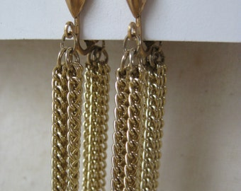 Gold Chain Dangle Earrings Clip Vintage