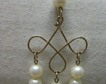 Pearl Gold Necklace Dangle Pendant Vintage