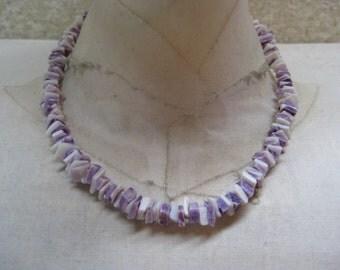 Purple White Shell Necklace Vintage