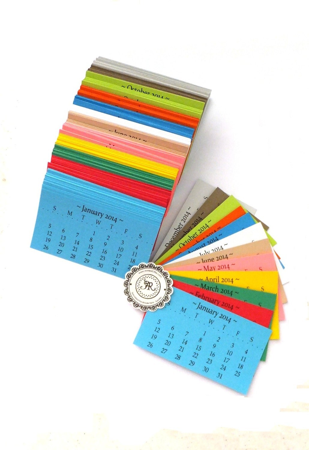 SALE Full 2014 Calendar Business Card Size Printed Business