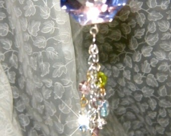 VINTAGE PINK PRISM Crystal Rearview Mirror Jewel,  Ornament, Suncatcher, Feng Shui crystal Sun Catcher. Free Shipping