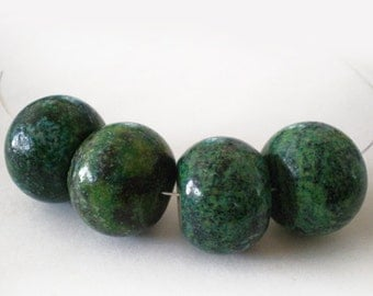 25mm Large Chunky Grass Green Rondelle Turquoise Bold stone bead 4pcs