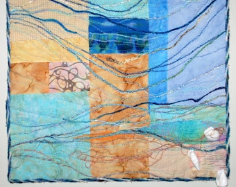 Sea Meets Sand Quilted Wall Hanging Fiber Art