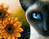 ACEO art print Siamese Cat 575 flower painting by Lucie Dumas