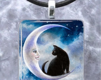 Art Glass Pendant 1x1 black Cat 580 crescent moon Jewelry Necklace from art painting by L.Dumas
