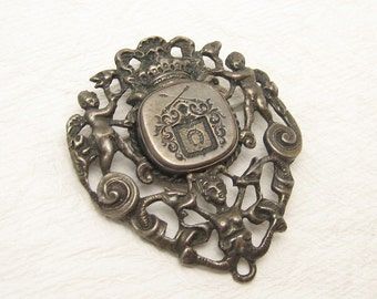 Vintage Sterling Brooch Italian Coat of Arms Salamone Antique P5741