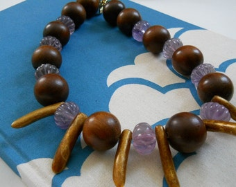Untamed necklace - branch coral, amethyst, wood, purple, violet, brown, gold