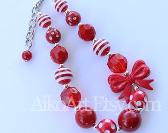 Red & White Bow Chunky Necklace