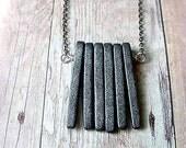 Modern Industrial Unisex Gray Spikes Necklace, Concrete Slate Grey Ceramic Pendant Gift Box