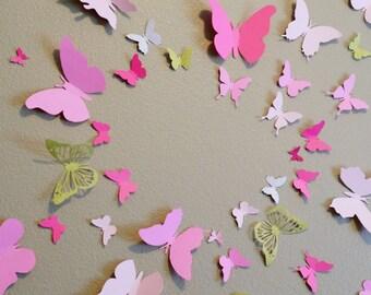 3D Butterfly Wall Art Home Decor, Girls Room, Paper Set of 40