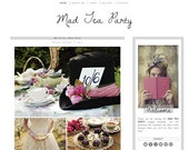 Premade Blogger Template - MAD TEA PARTY - Graphic Design - Blog Template