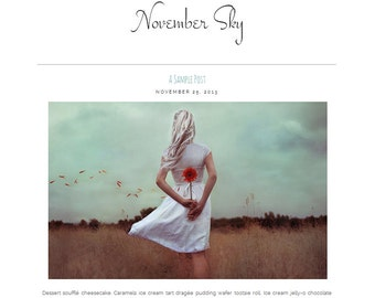 Premade Blogger Template - NOVEMBER SKY - Responsive Template - Photography - Minimalistic Graphic Design - Blog Template