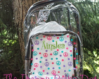 Personalized Clear Backpack Bookbag