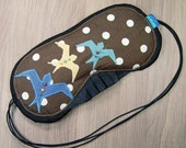 Luxury Eyemask - Lavender Filled - Birds - Blue - Brown - Yellow - Polka Dots - Black Silk Back - Elasticated