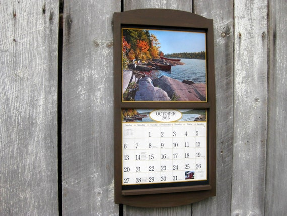 wooden calendar frame holder in coffee chocolate brown large
