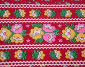 Blooming Border Print - Vintage Fabric Mod Tulips Juvenile Rick Rack 70s