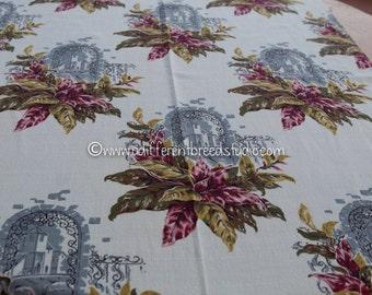 "Romantic Windows - Vintage Fabric 34"" wide Cottage Barkcloth New Old Stock European Castles"