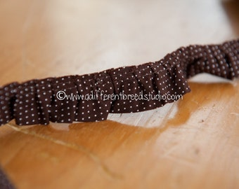 Chocolate Brown Polka Dot Ruffle  - 3 yards Vintage Fabric Trim New Old Stock Juvenile Dolls