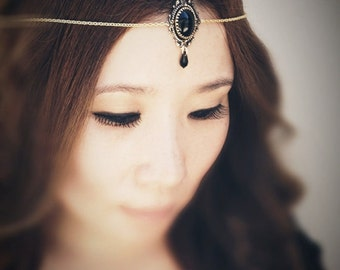 Midnight in Forks Chains HeadPiece - Antique Gold Plated American Brass - Swarovski Jet Crystals - Domestic Free Shipping